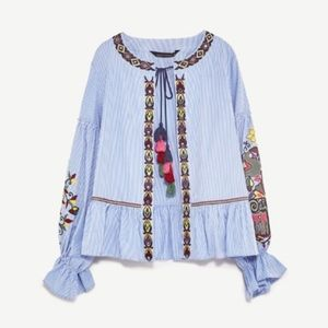 Zara blue stripe tassel embroidered blouse top